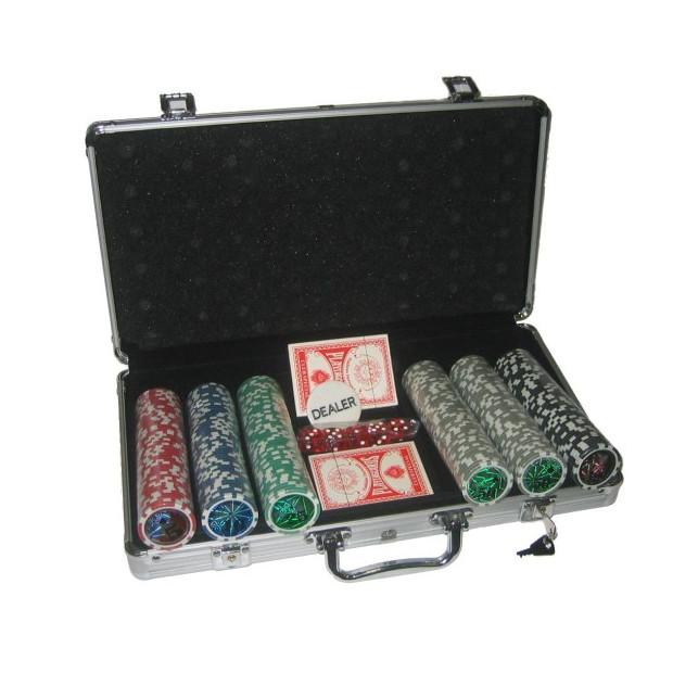 Poker set 300 v alu kufri s označením hodnôt