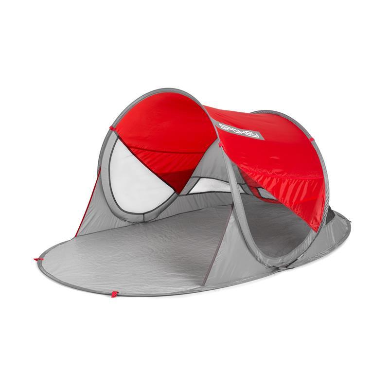 Samorozkládací plážový stan Spokey Stratus Red s ochranou proti UV záření ( SPF 40+)
