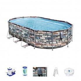 Oválný bazén Bestway 56719 Power Steel Swim Vista Stone 549 x 247 x 122 cm s konstrukcí