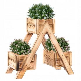 Dřevěný vypalovaný záhon Springos KWD001 na 3 květiny