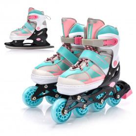 Dětské 2v1 zimní a kolečkové brusle Meteor Blue/Pink nastavitelné